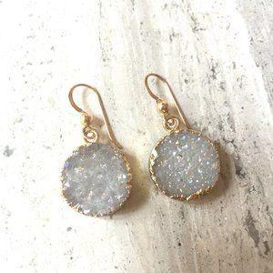 Druzy dangle 14K gold/ Sterling Silver Earrings